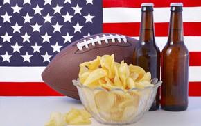 Картинка фон, мяч, пиво, флаг, регби, американский футбол, ваза, бутылки, США, Америка, чипсы