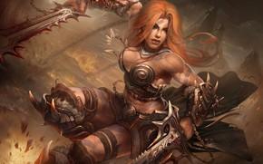 Обои оружие, женщина, цепи, Barbarian, Diablo-III