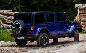 Картинка синий, внедорожник, 4x4, грунтовка, Jeep, 2019, Wrangler Unlimited 1941 Sahara