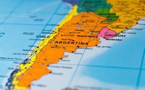Картинка Argentina, map, Chile, Uruguay