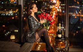 Картинка цветы, ночь, огни, секси, поза, модель, бокал, бутылка, розы, букет, чулки, макияж, фигура, платье, прическа, …