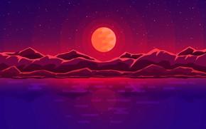 Картинка Вода, Отражение, Минимализм, Горы, Звезды, Луна, Пейзаж, Спутник