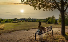 Картинка лето, девушка, солнце, деревья, скамейка, природа, парк, спина
