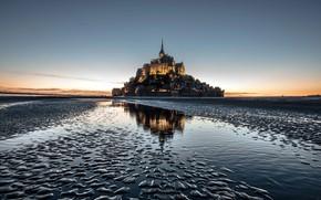 Картинка замок, Франция, остров, монастырь, Мон-Сен-Мишель