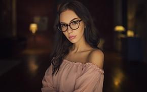 Обои девушка, волосы, очки, Sergey Fat, Сергей Жирнов, Viktoriya Sheremetyeva