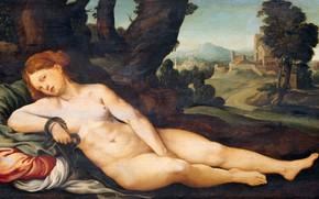 Картинка эротика, масло, картина, Ян ван Скорел, 1525, Jan van Scorel, Умирающая Клеопатра