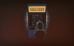 Обои Минимализм, Мальчик, Игра, Фон, Pacman, Pac-Man, Ностальгия, Игровой автомат, Аркада