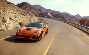 Картинка оранжевый, Corvette, Chevrolet, ZR1, вид спереди, 2019