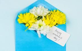 Картинка цветы, конверт, поздравление, День Матери