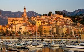 Картинка Франция, дома, порт, Ментона, Ментон