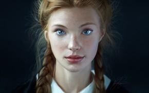 Картинка Девушка, Взгляд, Губы, Стиль, Лицо, Girl, Волосы, Глаза, Портрет, Арт, Beautiful, Art, Красотка, Style, Веснушки, …