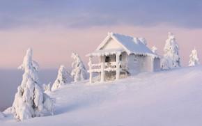 Картинка зима, небо, облака, снег, природа, дом, в снегу, избушка, гора, красота, сказка, склон, холм, сугробы, …