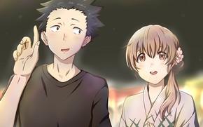 Картинка девушка, любовь, ночь, романтика, пара, парень, двое, Форма голоса, Koe No Katachi