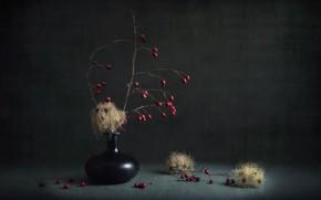 Картинка ягоды, фон, ваза