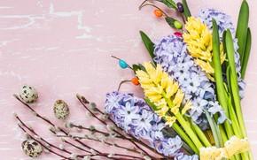 Картинка цветы, яйца, colorful, Пасха, happy, wood, верба, flowers, Easter, eggs, decoration, hyacinth