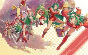Картинка эмоции, сапоги, подарки, Christmas, зеленые волосы, девчонки, разные глаза, колпак Санты, костюм Санты