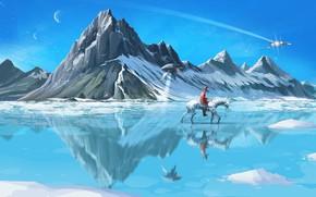 Картинка Зима, Горы, Лошадь, Снег, Лед, Ковбой, Меха, Лёд, Арт, Art, Космический Корабль, Winter, Snow, Фантастика, …