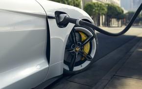 Картинка колесо, Porsche, зарядка, Turbo S, 2020, Taycan