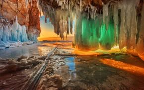 Картинка зима, цвета, закат, природа, озеро, лёд, сосульки, Байкал, Владимир Рябков