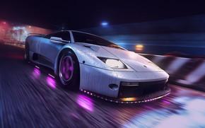 Картинка Авто, Lamborghini, Машина, Стиль, Фон, 80s, Style, Суперкар, Neon, Diablo, Спорткар, 80's, Synth, Game Art, …