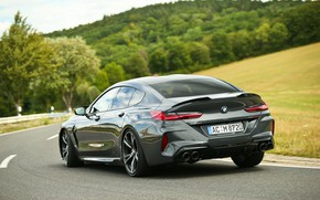 Картинка дорога, лес, поля, купе, BMW, Gran Coupe, задом, AC Schnitzer, 2020, BMW M8, M8, четырёхдверное, …