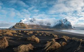 Картинка Природа, Облака, Море, Горы, Снег, Пейзаж