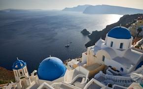 Картинка море, солнце, скалы, побережье, высота, дома, Греция, вид сверху, Santorini