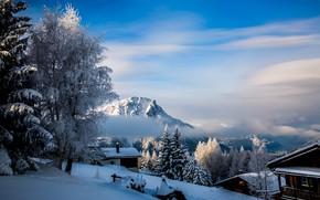 Картинка зима, облака, снег, деревья, пейзаж, горы, природа, село, дома, Швейцария, долина, Rosswald