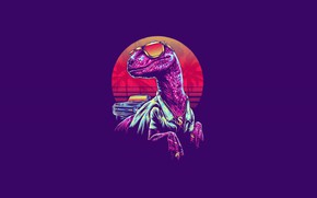 Картинка Минимализм, Очки, Динозавр, Арт, Neon, Velociraptor, 80's, Synth, Retrowave, Synthwave, New Retro Wave, Синтвейв, Велоцираптор