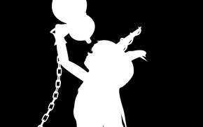 Картинка черно-белая, цепь, рогатая, проект Восток, touhou project, Ibuki Suika