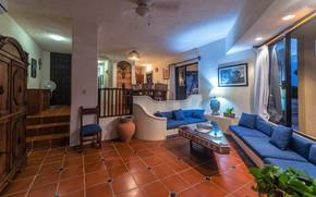 Картинка интерьер, гостиная, холл, Living area with dining room, Villa Nicte Ha House, Akumal Mexico Vacation