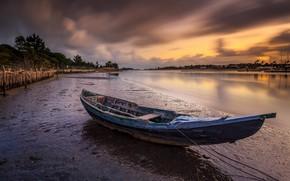 Картинка облака, закат, берег, лодка, вечер, водоем, деревянная