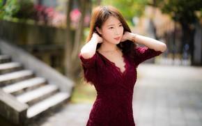 Картинка модель, портрет, макияж, платье, прическа, шатенка, азиатка, стоит, позирует, боке