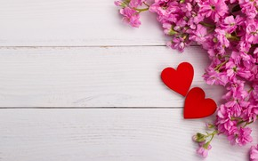 Картинка цветы, сердце, love, розовые, wood, pink, flowers, romantic, hearts, spring