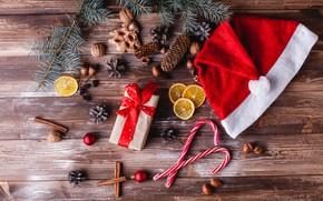 Картинка праздник, подарок, новый год, wood, декор, композиция, пряности