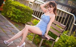 Картинка лето, девушка, лицо, улыбка, фигура, ножки