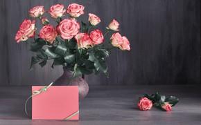 Картинка розы, букет, Розовые, ваза, Anya Ivanova
