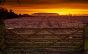 Картинка поле, закат, забор