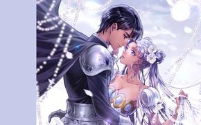 Картинка девушка, романтика, аниме, арт, пара, парень, sailor moon