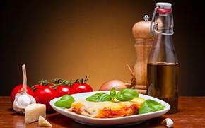Картинка тарелка, помидоры, томаты, чеснок, лазанья, lasagna, кушанье
