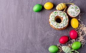 Картинка праздник, яйца, пасха, солома, кулич