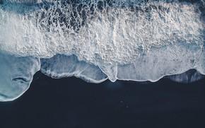 Картинка море, волны, пляж, природа, океан, вид сверху