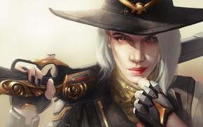 Картинка взгляд, девушка, шляпа, ружье, ashe, overwatch, Calamity, Elizabeth Caledonia, перчата