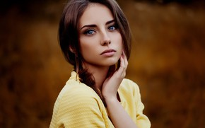 Картинка girl, photo, photographer, blue eyes, model, brunette, Natasha, portrait, depth of field, Ann Nevreva