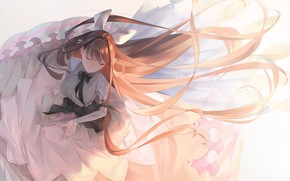 Картинка девушка, платье, длинные волосы