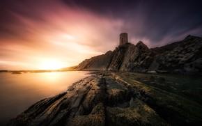 Картинка море, закат, побережье, Испания