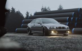 Картинка Авто, BMW, Машина, Серый, Car, Render, Серебряный, E46, BMW M3, Пасмурно, Трубы, BMW M3 E46, …