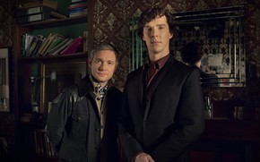 Картинка комната, зеркало, двое, друзья, разговор, Шерлок Холмс, Мартин Фриман, Бенедикт Камбербэтч, Sherlock, Sherlock BBC, Sherlock …