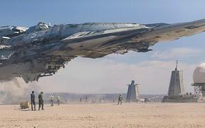 Картинка корабль, сооружения, космопорт, персонал, Destroyer Landing