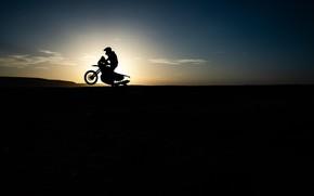 Картинка Солнце, Спорт, Гонка, Силуэт, Мотоцикл, Bike, Dakar, Дакар, Moto
